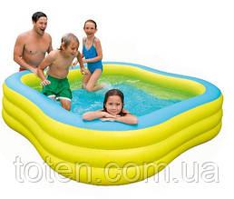 Детский надувной бассейн Intex 57495 «Акварена» 229-229-56см Желтый