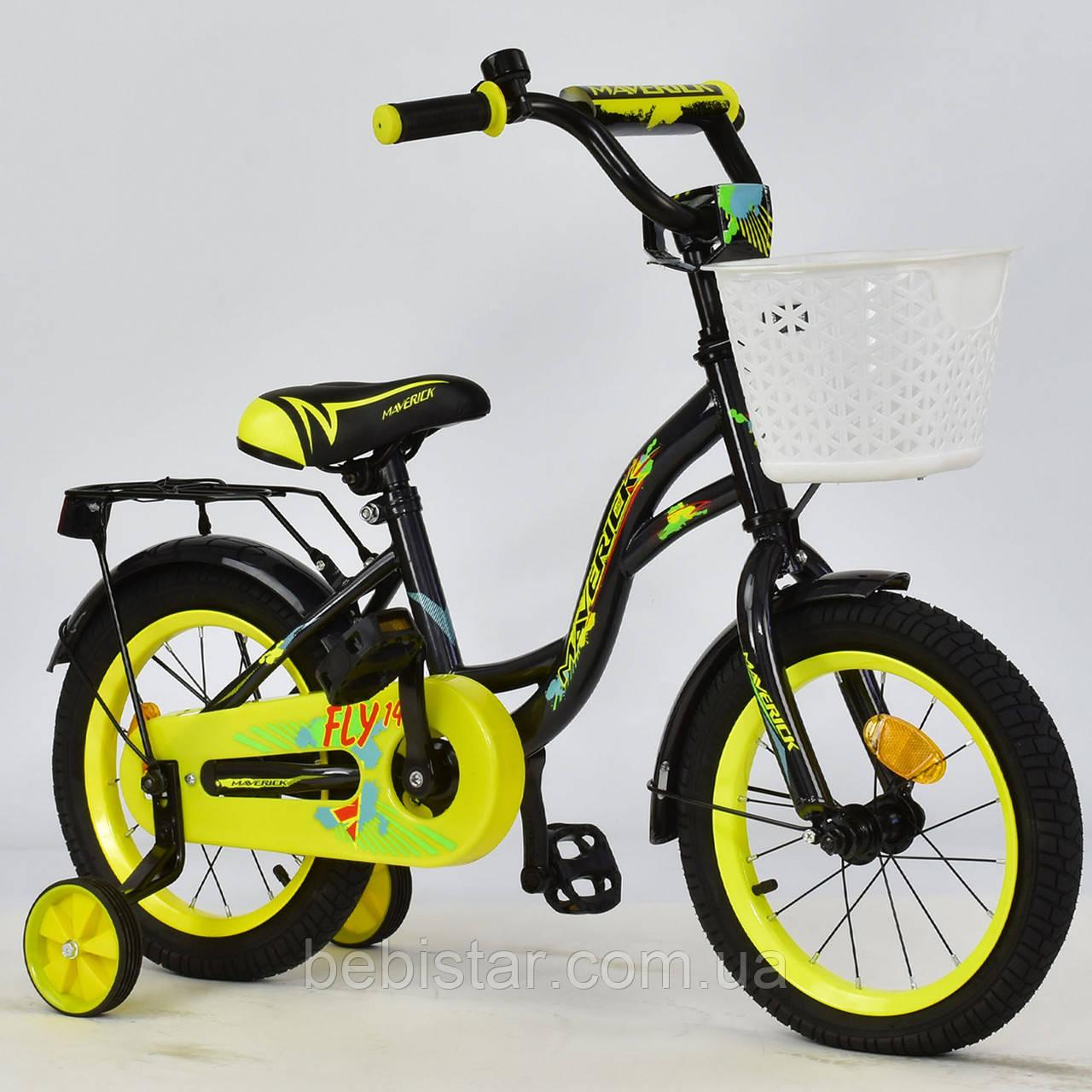 """Двухколесный велосипед Maverick 14"""" R 1409 детям 3-5 лет(без переднего тормоза)цвет черный"""