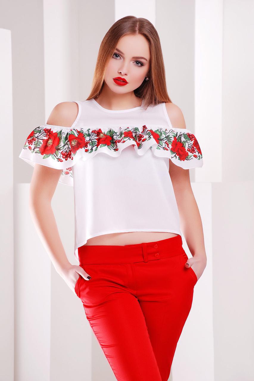 Літня блуза з креп-шифону з принтом вишивки