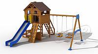 """Комплекс """"Дача"""" для детей с 7 лет: домик с горкой 1,8 м, качелями /р. 5,5х5.49х4.2 м ТМ KIDIGO 11-01.5/7-16"""