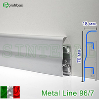 Алюминиевый плинтус с кабель-каналом Profilpas Metal Line 96/7.