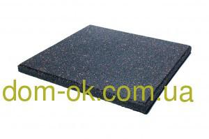 Резиновая плитка для тренажерных залов и фитнеса толщина 20 мм, выбрать цвет черный с гранулами