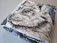 Микрофибровая простынь, покрывало Elway полуторное Волк