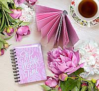 """Блокнот с мягкой обложкой """"Stop wasting time"""" с розовыми страничками"""