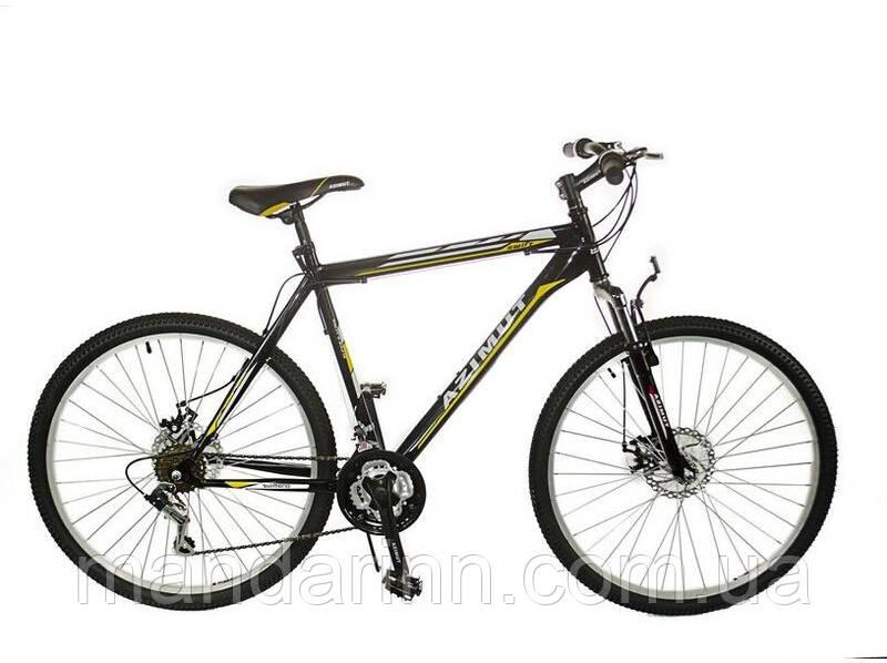 """Горный велосипед 29 дюймов Azimut Fly. Рама 21"""". Дисковые тормоза. Черный"""