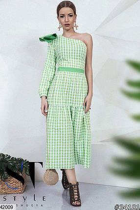 Летнее платье миди полуоблегающее один рукав с бантом зеленое, фото 2