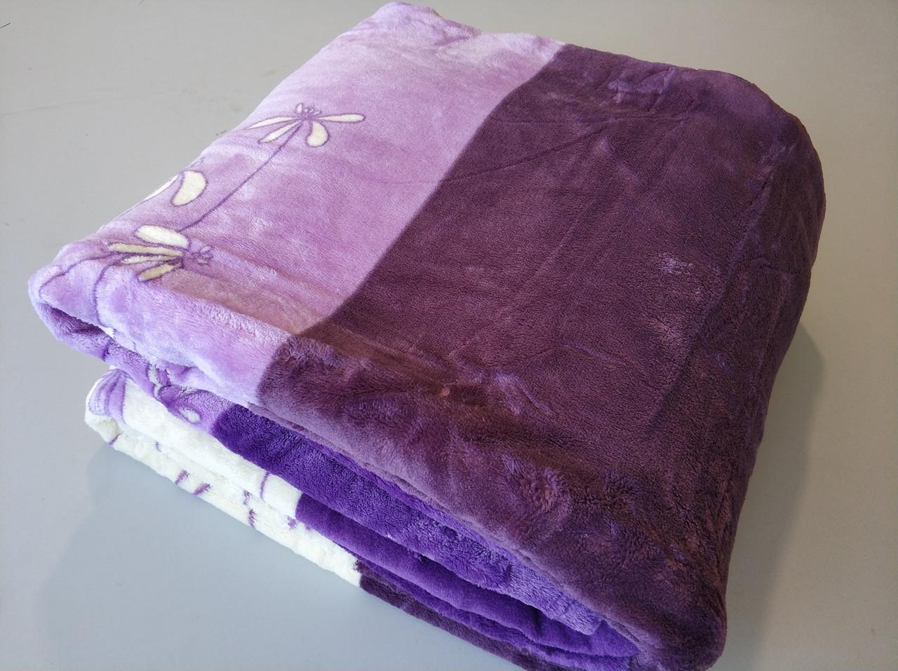 Микрофибровая простынь, плед, покрывало Elway полуторное Фиалка фиолетовая