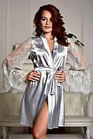 Женский атласный халат с красивым кружевным рукавом Серебро (Светло серый) 42