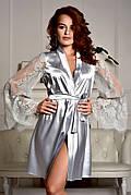 Женский атласный халат с красивым кружевным рукавом Серебро (Светло серый)
