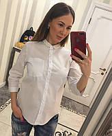 Стильная белая рубашка декорирована разрезом и жемчужинами , фото 1