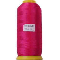Нитки для машинної вишивки поліестер 40 колір яскраво рожевий 318