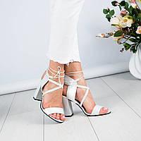 Босоножки на шнуровке кожаные, фото 1
