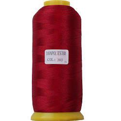 Нитки для машинної вишивки поліестер 40 колір темно бордовий 393