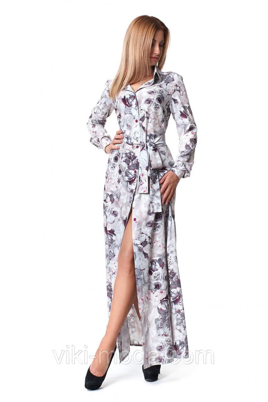 Платье в пол рубашечного кроя из софта
