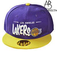 Кепка мужская с прямым козырьком Хип-хоп Lakers (фиолетовая) коттон р.55 см -купить оптом в Одессе