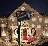 Светодиодный лазерный уличный проектор Ecolend 37 1 белые снежинки  IP65  4W