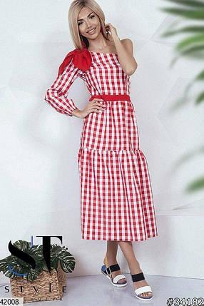 Красивое платье средней длины полуприталенное один рукав бант коттон жатка в клетку красное , фото 2