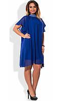 Женское платье синее со стразами на вороте размеры от XL ПБ-608