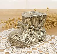 Коллекционная копилка - башмачок, посеребренный металл, Германия, фото 1