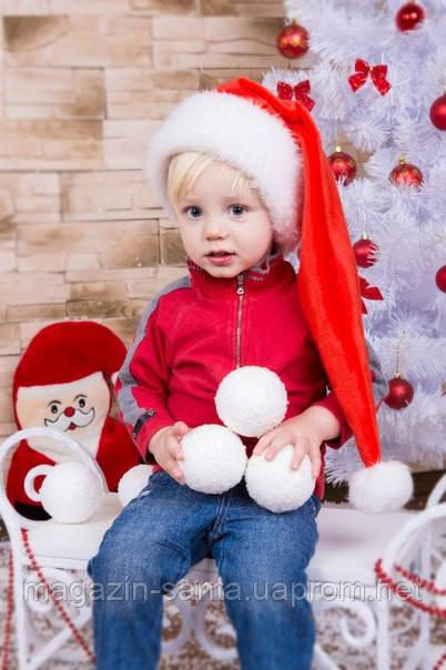 Новогодняя Шапка Детская Деда Мороза Колпак Санта Клауса Santa Claus Эльф Красная  Удлиненная