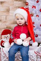 Новогодняя Шапка Детская Деда Мороза Колпак Санта Клауса Santa Claus Эльф. Красная  Удлиненная.