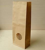 Пакет для чаю і кави 190х95х65 мм. з вікном, бурий крафт 70 г/м2, прям. дно