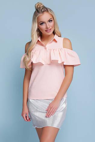 Легкая блузка с воротником и воланом открытые плечи блуза Калелья б/р персиковая, фото 2