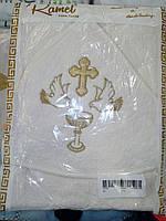 Полотенце крестильное с капюшоном крыжма с уголком полотенце на крещение 90х90 см