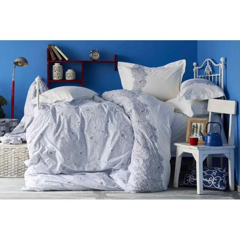 Постельное белье Karaca Home - Simi mavi 2018-2 голубой пике 220*230 евро