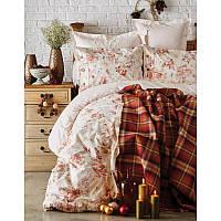 Набор постельное белье с пледом Karaca Home - Arlo orange 2018-2 оранжевый евро