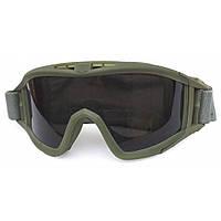 Тактическая противоосколочная маска SD-GL-500 со сменными поликарбонатными линзами с оправой цвета олива