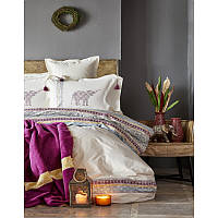 Набор постельное белье с пледом Karaca Home - Espilo bordo 2018-1 бордовый евро