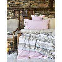 Набор постельное белье с пледом Karaca Home - Woodley Pembe 2018-1 розовый евро