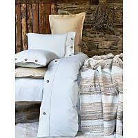 Набор постельное белье с пледом Karaca Home - Woodley Mavi 2018-1 голубой евро