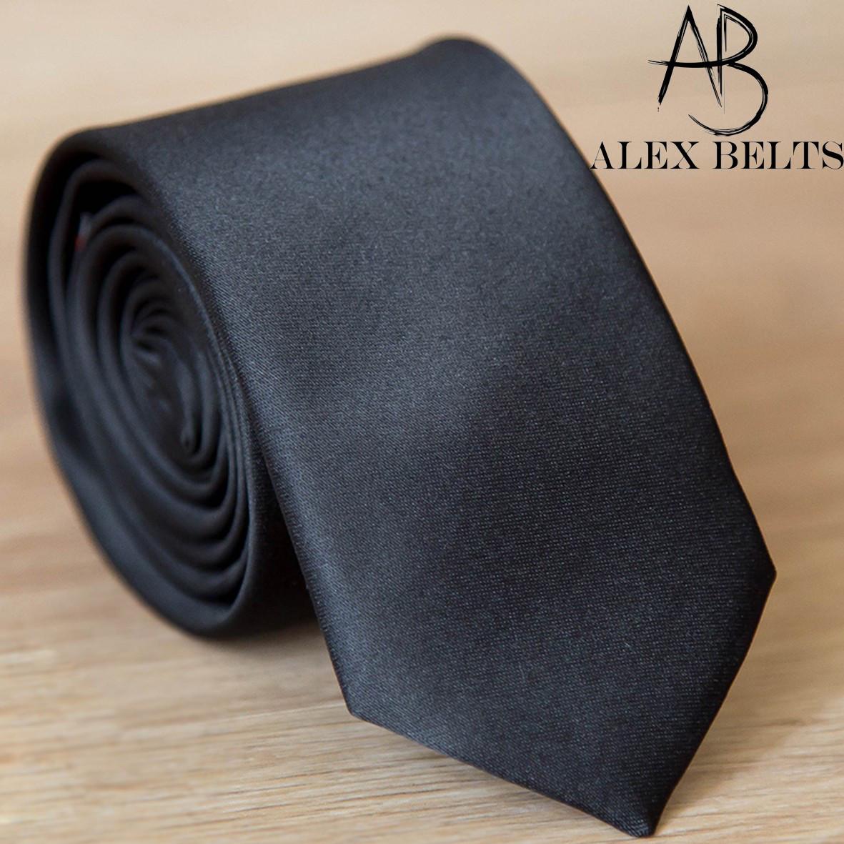 галстук мужской однотонный Lan Franko, галстук узкий из сатина   черный