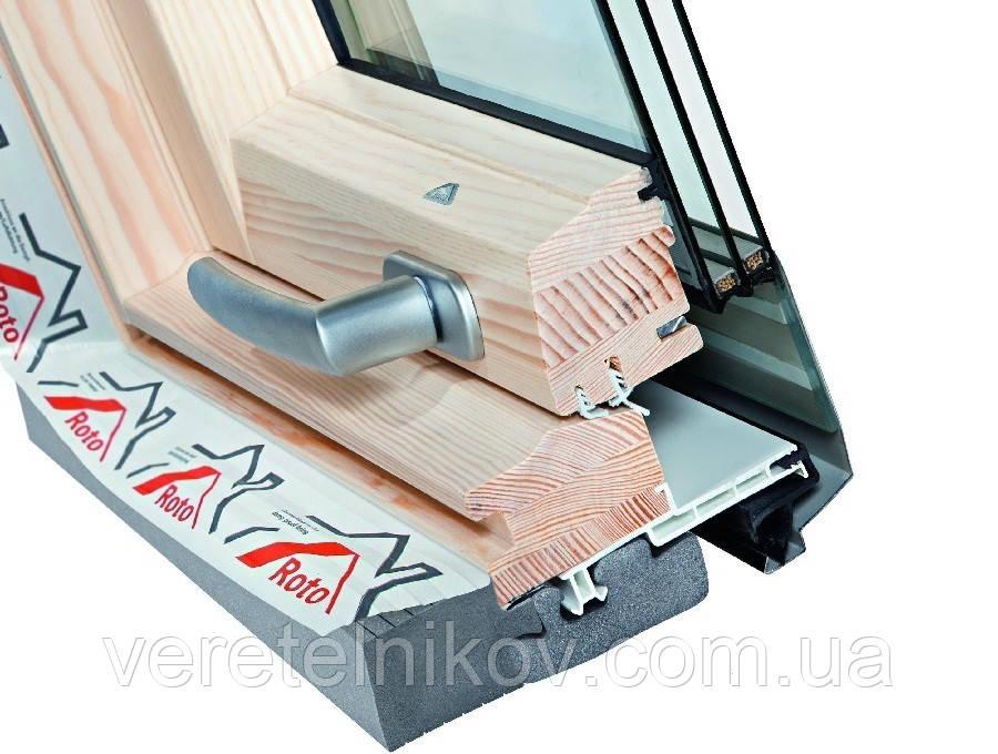 Roto Designo R8 WDF R89P H WD (дерево) мансардные окна с двумя осями поворота