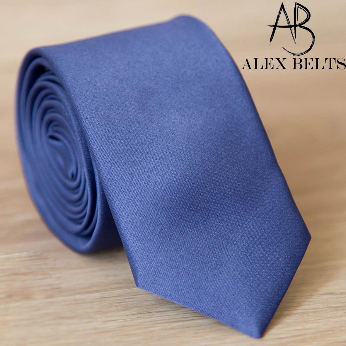 светло-синий галстук мужской однотонный Lan Franko, галстук узкий из сатина