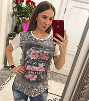 Красивая футболка декорирована принтом цветы , фото 1