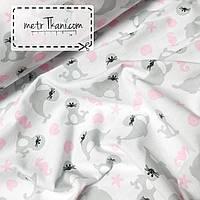 """Детская фланель  """" Морские котики """"серые с розовой ркушкой на белом  фоне №1043"""