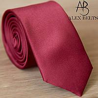 Узкий галстук бордовый, однотонный | Lan Franko. Арт.:GMUO012