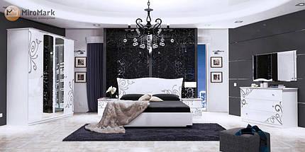 Кровать Богема 180*200 c каркасoм и подъемным механизмом глянец белый ТМ Миро Марк, фото 2