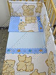 Детское постельное белье и защита (бортик) в детскую кроватку Мишка улитка голубой