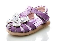 Обувь для девочек, кожаные фиолетовые босоножки Paliament