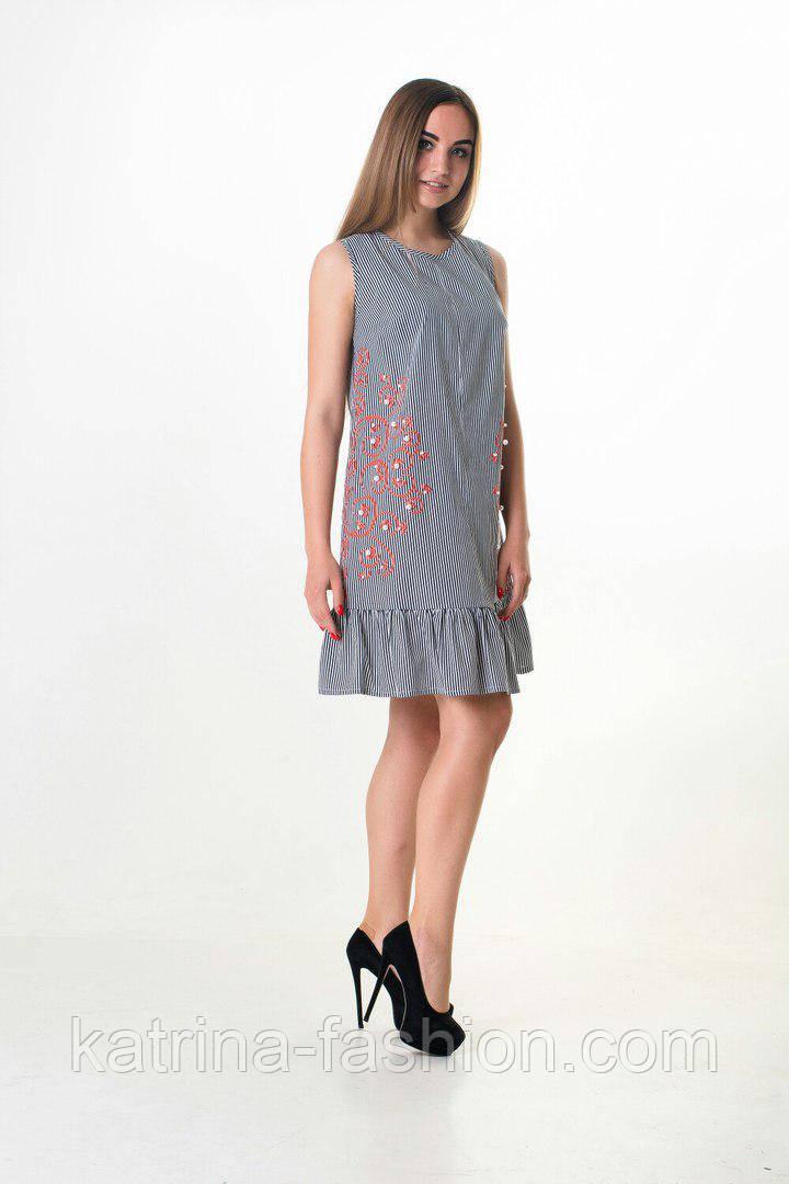 Женское красивое льняное платье-трапеция с рюшами и узором (5 цветов)