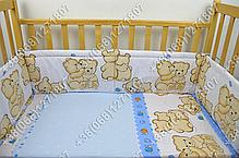 """Детское постельное белье в кроватку """"Бим Бом"""" комплект 6 ед. Мишка улитка голубой, фото 2"""
