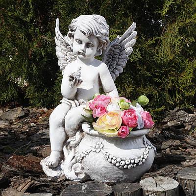 Садовая фигура Ангел кашпо светящийся 31 см