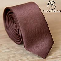 "Однотонный широкий галстук коричневый  ""Lan Franko"". Арт.:GVSOW16"