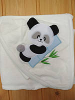Детское полотенце с капюшоном уголком и рукавичкой для купания Панда