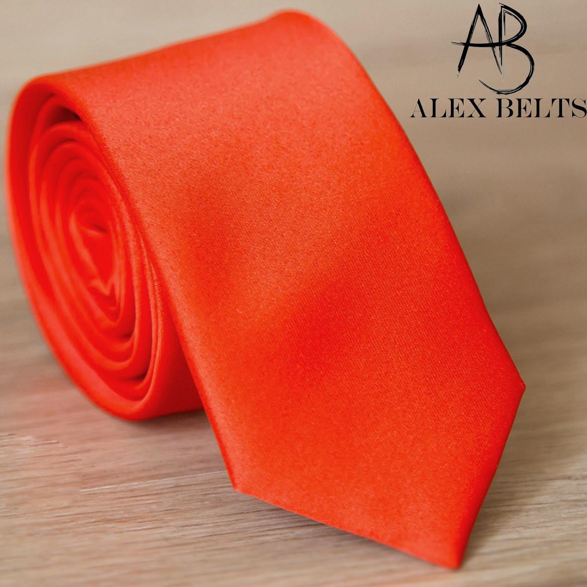 Галстук мужской оранжевый однотонный широкий   Lan Franko