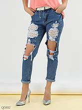 Рваные женские джинсы 7/8 со вставками кружева